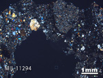 Thin Section Photo of Sample MIL 11294 in Cross-Polarized Light with 1.25X Magnification