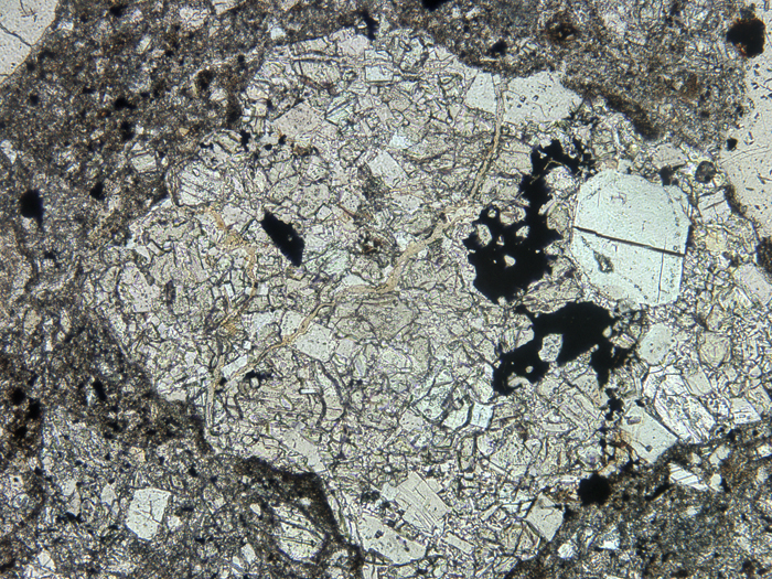 Thin Section Photograph of Apollo 14 Sample 14301,10 in Plane-Polarized Light at 10x Magnification and 1.15 mm Field of View (View #2)