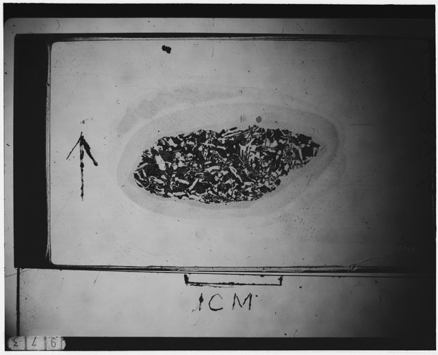 Black and white Thin Section photograph of Apollo 12 Sample(s) 12039,6 using cross nichols light.