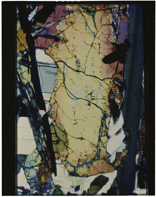 Color Thin Section photograph of Apollo 12 Sample(s) 12039,3 using cross nichols light.
