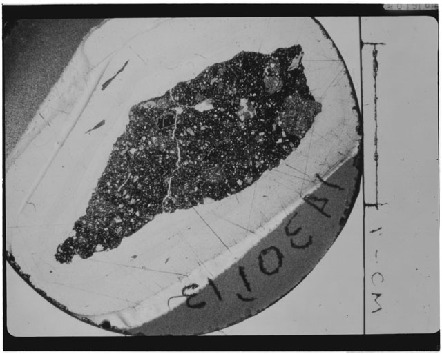 Black and white Thin Section photograph of Apollo 14 Sample(s) 14301,13.