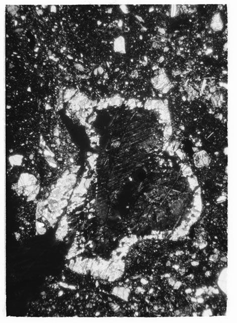 Black and White Thin Section Photo of Apollo 14 Sample 14302