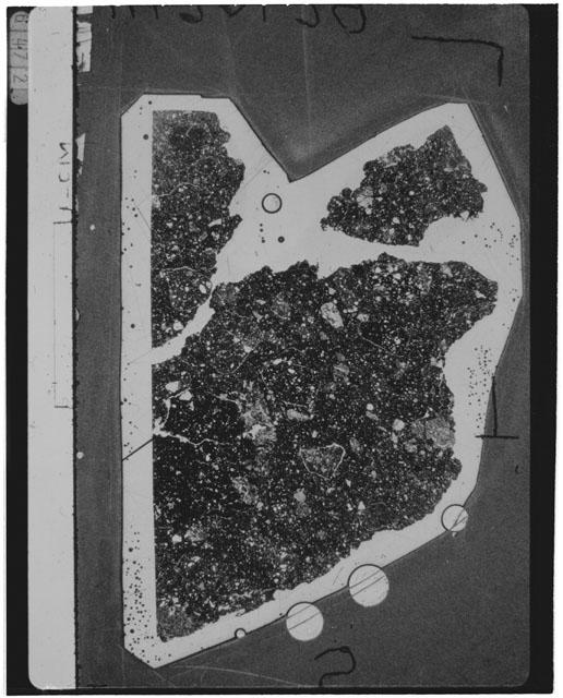 Black and White Thin Section Photo of Apollo 14 Sample 14301