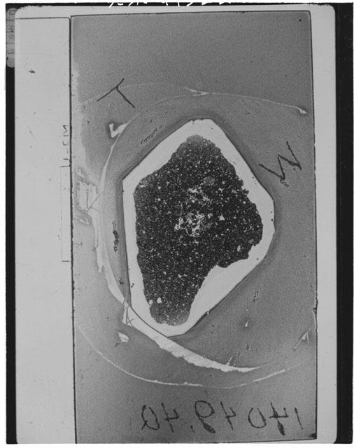 Black and White Thin Section Photo of Apollo 14 Sample 14049,40