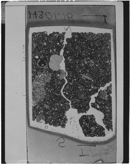 Black and White Thin Section Photo of Apollo 14 Sample 14301,78
