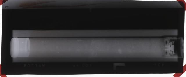 X-Ray stereo photograph of Apollo 16 Core sample 64001,0 (ST1 L).