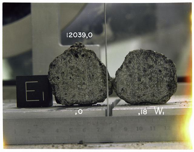 Processing photograph of Apollo 12 sample(s) 12039,0, 18.