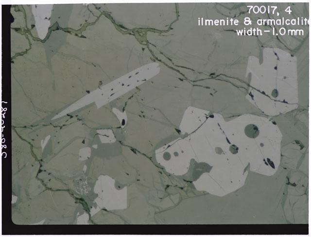 Color 1 MM Ilmenite and Armalcalite Thin Section photograph of Apollo 17 Sample(s) 70017,4.