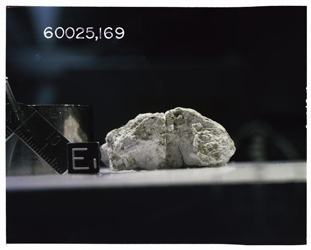 Color photograph of Apollo 16 Sample(s) 60025, 169; Ortho photo with orientation E.