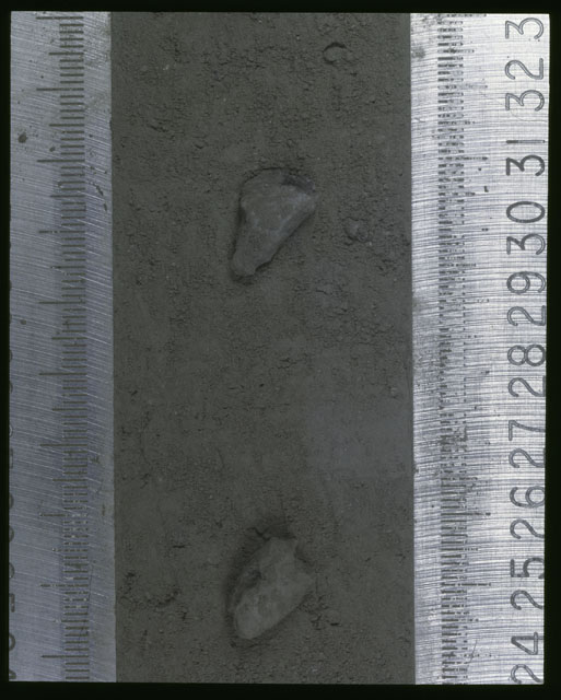 Color photograph of Apollo 16 Sample(s) 64001,1; Processing photograph displaying Core at 24-33 cm depth.